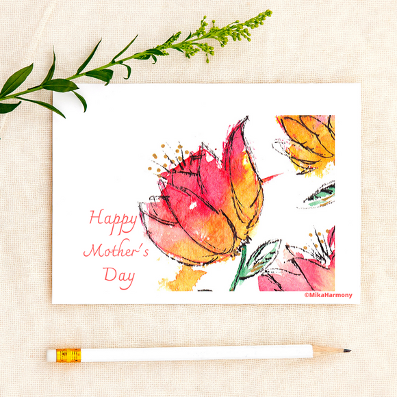 Watercolor Tulip Flowers for your Mother's Day cards! - Mika Harmony