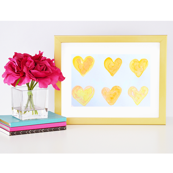 ORIGINAL WATERCOLOR:  Heart paintings. Sunshine Yellow hearts - Mika Harmony