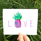 LOVE CARD: Tropical Pineapple LOVE Greeting cards - Mika Harmony