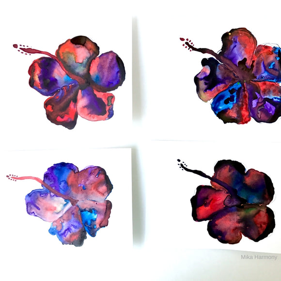 Gemstone Colored Hibiscus Paintings, sized 6x8