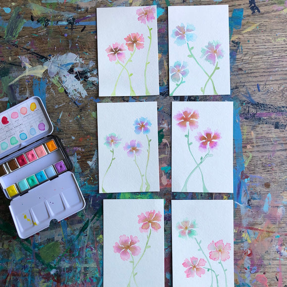 Delicate floral original watercolors: SIZE 4x6, pastel pinks, purples, blues and greens. FREE US SHIPPING - Mika Harmony