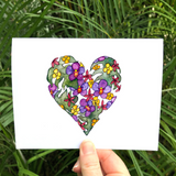 FOUR CARD SET: Vintage Hawaiian Botanical Heart watercolor - Mika Harmony