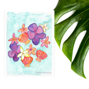 NEW 5x7 print: Seashell and Tropical Flowers perfect for beachy coastal decor; Purple orchids, Sunrise Shell and Plumeria - Mika Harmony