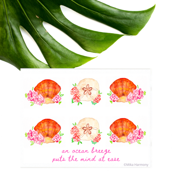 Beachy Coastal Decor NEW 5x7 print: Sunrise Shells and Sand Dollar watercolor quote