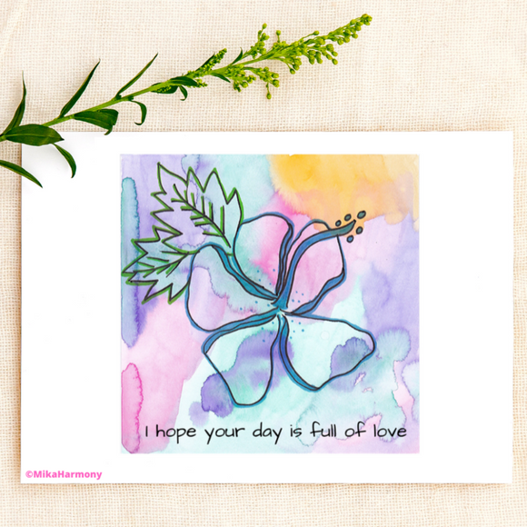 LOVE Cards: Colorful greeting card featuring a tropical Hawaiian Hibiscus: