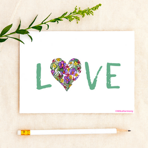 "ALL OCCASION ""Love"" :  Tropical botanical heart ""Love"" greeting card - Mika Harmony"