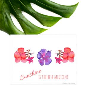 "NEW 5x7 ""Sunshine is the best Medicine"" print: Seashell and Tropical Flowers perfect for beachy coastal decor; Vibrant red orchids, Nautilus Shell and Yellow and Ruby plumeria watercolor - Mika Harmony"