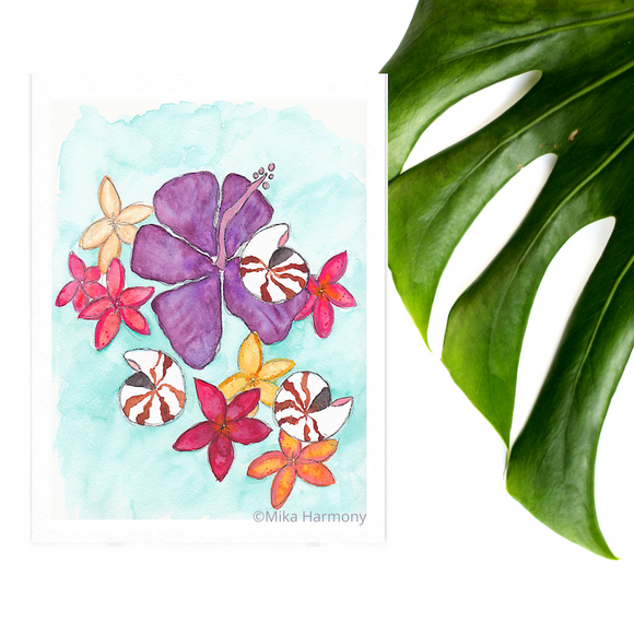 NEW 5x7 print: Seashell and Tropical Flowers perfect for beachy coastal decor; Royal Purple Hibiscus, Ruby Red and Yellow Plumeria and Nautilus Shell watercolor art - Mika Harmony