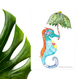 2 NEW designs: Whimsical Seahorse Umbrella watercolors: 5x7 Prints! - Mika Harmony