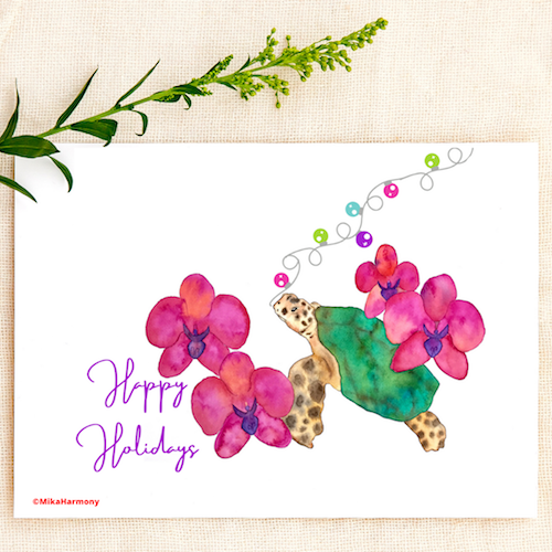 Tropical Watercolor Holiday Hawaiian Sea Turtle. Happy Holidays greeting cards. SET OF 4 CARDS