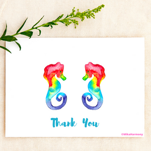 Colorful Rainbow Seahorse watercolor Thank You cards - Mika Harmony