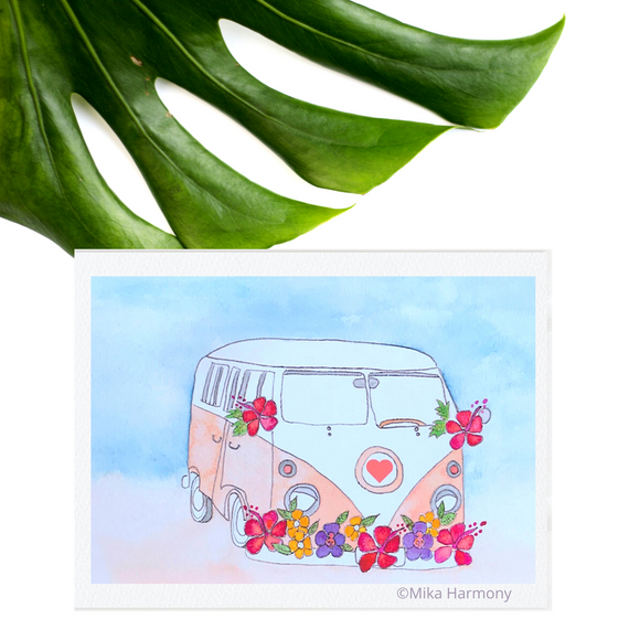 Iconic California Peach and White Surf Van covered in red and purple and yellow tropical flowers. Hawaiian Beach Vibes! 5x7 ART PRINT - Mika Harmony