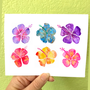 POSITIVITY: greeting card; perfect to send colorful tropical Hibiscus Aloha - Mika Harmony
