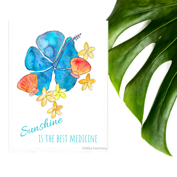 NEW 5x7 print: Seashell and Tropical Flowers perfect for tropical seaglass loving decor; Blue Hibiscus, Orange Yellow Sunrise Shells and Happy yellow Plumeria watercolor - Mika Harmony