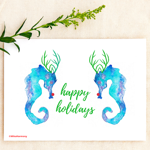 Turquoise watercolor Reindeer Seahorse holiday greeting cards. SET OF 4 CARDS