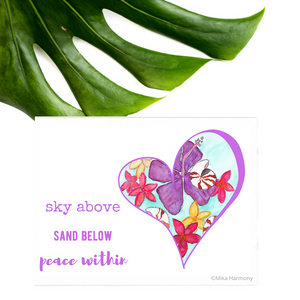 "Lavender Heart ""Sky above, Sand Below, Peace Within"" Seashell and Tropical Flower NEW 5x7 watercolor print - Mika Harmony"
