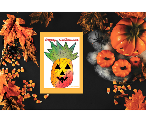 Aloha Pineapple jack-o-lantern for Halloween Printable: Instant Digital Download ready to print from home!
