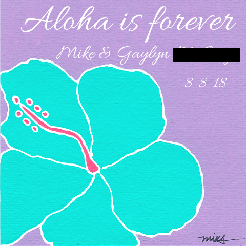 Personalized Hibiscus Painting Lavender and Aqua_Wedding Anniversary Gift, 5x5 ART PRINT