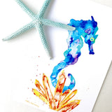 Aura Crystal Cluster Seahorse Watercolor artwork in vibrant, energizing colors
