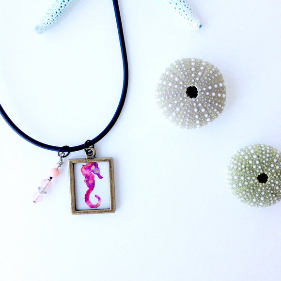 Pink Galaxy Seahorse Necklace with Peachy Pink beads - Mika Harmony