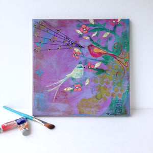 """Birds of Paradise"" 12x12 Original Mixed Media painting on canvas - Mika Harmony"