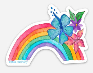 Ready for PRE ORDER NOW!: Blue Hibiscus Hawaiian Rainbow Waterproof sticker, great for water bottles, laptops and more! - Mika Harmony