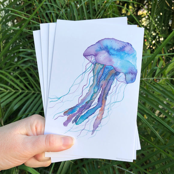 Postcard Set! Blueberry Jellyfish watercolor design. Set of 4 postcards. - Mika Harmony