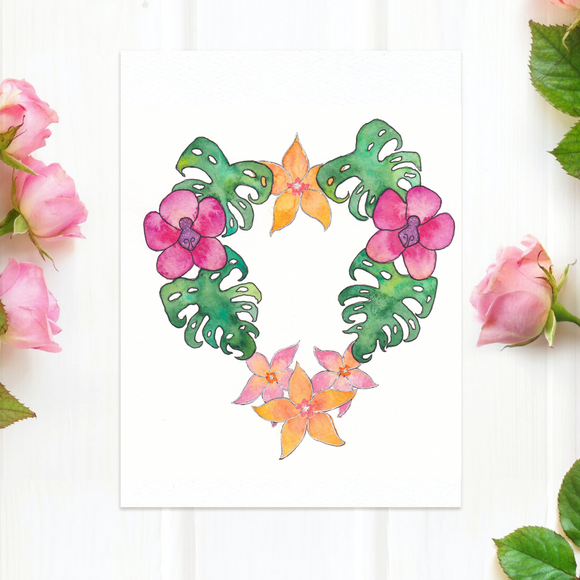 Botanical Heart wreath of Hawaiian flowers: floral heart 5x7 ART PRINT: featuring orchids, plumeria and Monstera leaves in tropical colors - Mika Harmony