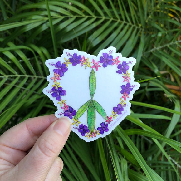 PEACE SIGN Botanical Tropical Flower Heart Sticker with CLEAR Background, featuring green leaves, purple hibiscus and Hawaiian plumeria. - Mika Harmony