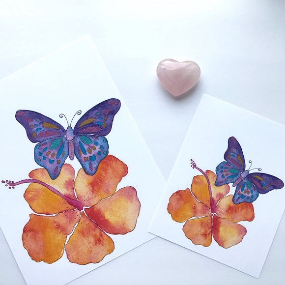 Purple Butterfly and Orange Hibiscus Aloha Watercolor Art Print- size 5x7 or 8x10 - Mika Harmony