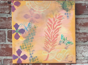Feather and Butterfly painting in soft pastel tones: 12x12 original canvas - Mika Harmony