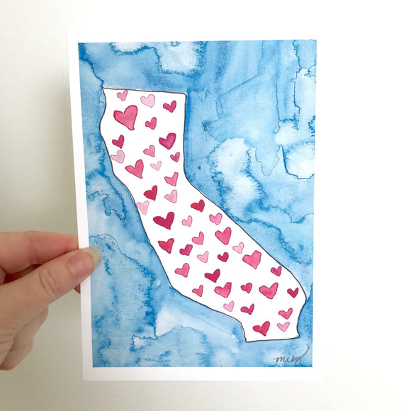 California Love watercolor art print, fundraiser for Wildfire relief in California