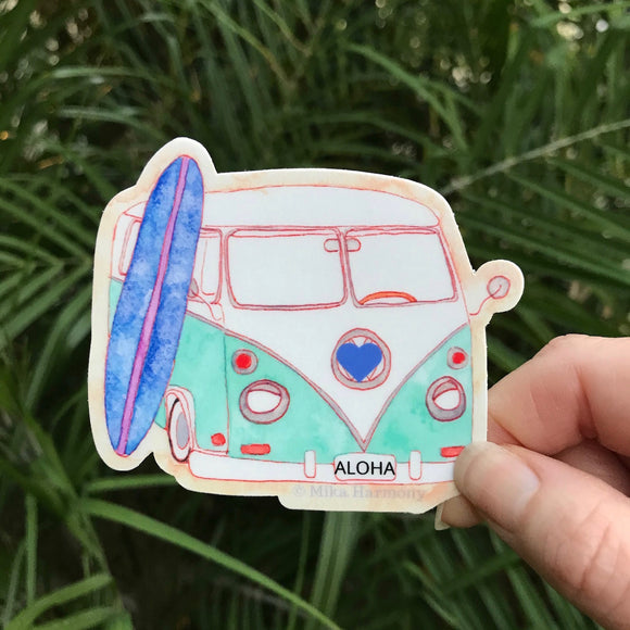 Teal and White 70's California Surf Van and Surfboard Sticker. Cool Cali Surf Decal - Mika Harmony