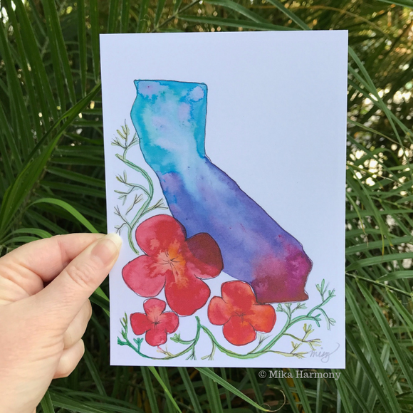 California state and Poppies watercolor art print