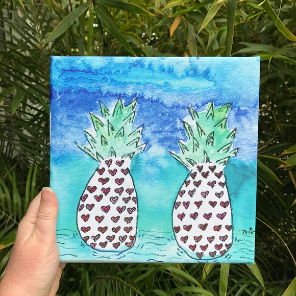 Cosmic Colorful Pineapple Heart  Art watercolor print on 8x8 canvas, 2 heart colored pineapples in a galaxy colored background
