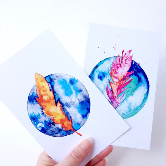 Wanderlust feathers in watercolor, 4x6 or 5x7 print sizes - Mika Harmony