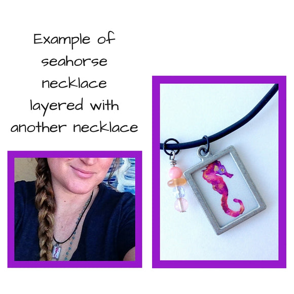 Pink Galaxy Seahorse with beaded charm Beachy jewelry - Mika Harmony