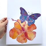 Purple Butterfly and Orange Hibiscus Aloha Watercolor Art Print- size 5x7 or 8x10