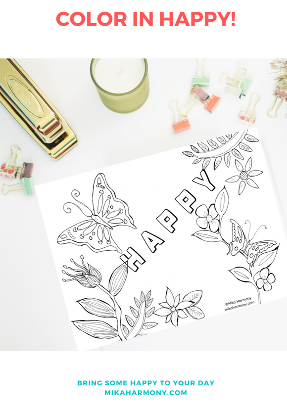Happy Butterfly Coloring Page Printable:Color your way to HAPPY! - Mika Harmony