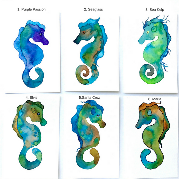 Original Seahorse watercolors: FLASH SALE! 4x6 Hawaiian Seahorse vibrant watercolors: Six different designs to choose from