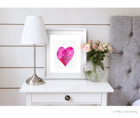 Vibrant Red and Pink Heart watercolor: Digital Download