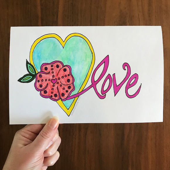 Love Valentine's Card Coloring Page Printable - Mika Harmony