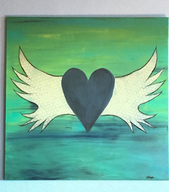 Heart With Wings ORIGINAL PAINTING, size 36