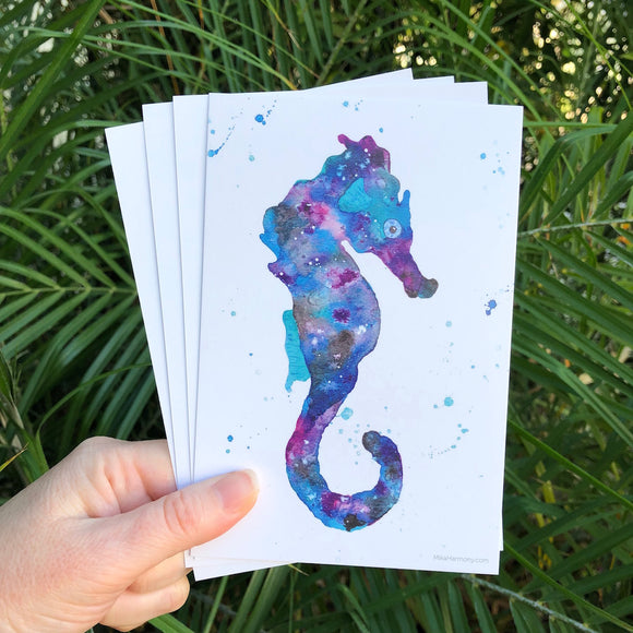 Postcard Set! Galaxy colored seahorse watercolor design. Set of 4 postcards. - Mika Harmony