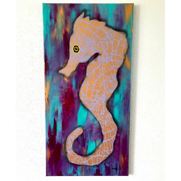Gold and Purple and Teal Seahorse