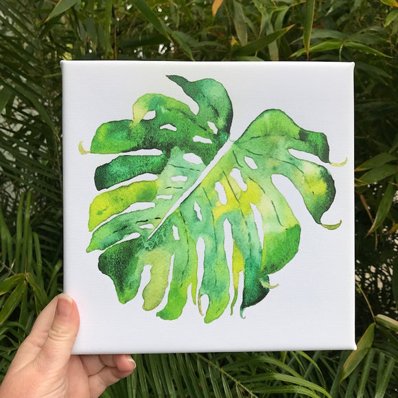 Green Hana Monstera Leaf watercolor print on 8x8 canvas