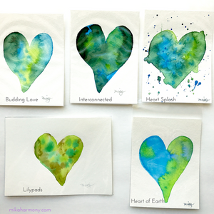 Green watercolor Heart paintings 4x6: Ready to ship today!