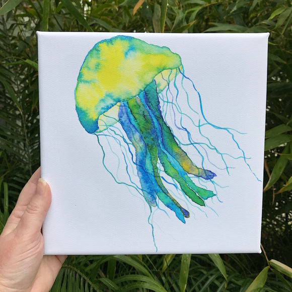 Jade Green and Amber Yellow Jellyfish watercolor print on 8x8 canvas,
