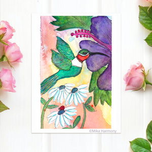 "Tropical Green and Red Hummingbird and Purple Hibiscus Flowers 5x7  print, ""Lucky Day in The Garden"" - Mika Harmony"