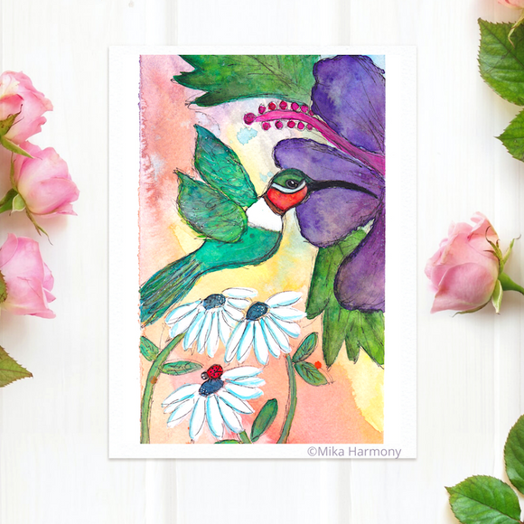 Tropical Green and Red Hummingbird and Purple Hibiscus Flowers 5x7  print,